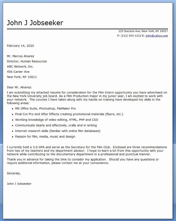 Cover Letter format for Internship Elegant Internship Cover Letter Examples