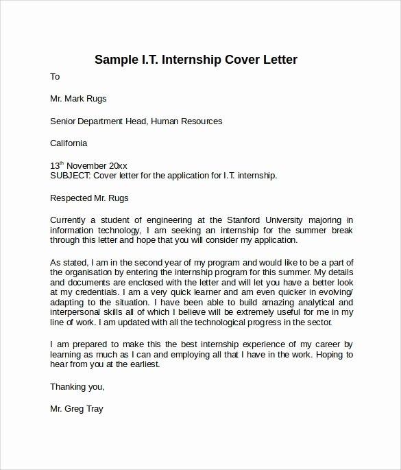 Cover Letter format for Internship Lovely Information Technology Cover Letter Template 8 Download