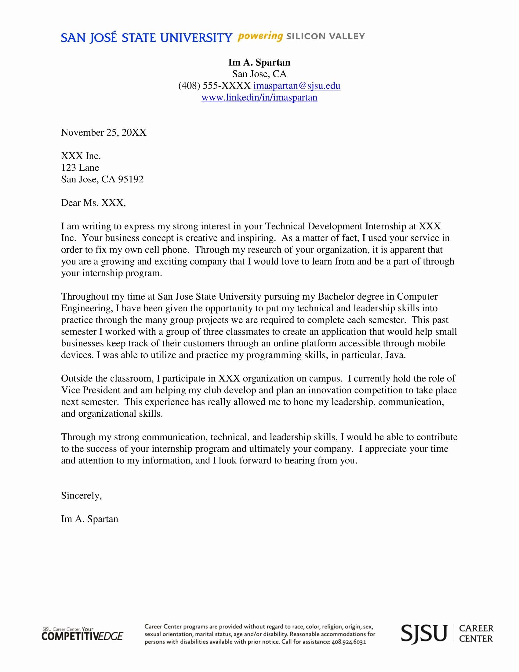 Cover Letter format for Internship Luxury 16 Best Cover Letter Samples for Internship Wisestep