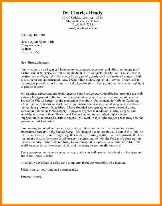 Cover Letter format for Internship Luxury 6 Cover Letter Template Internship