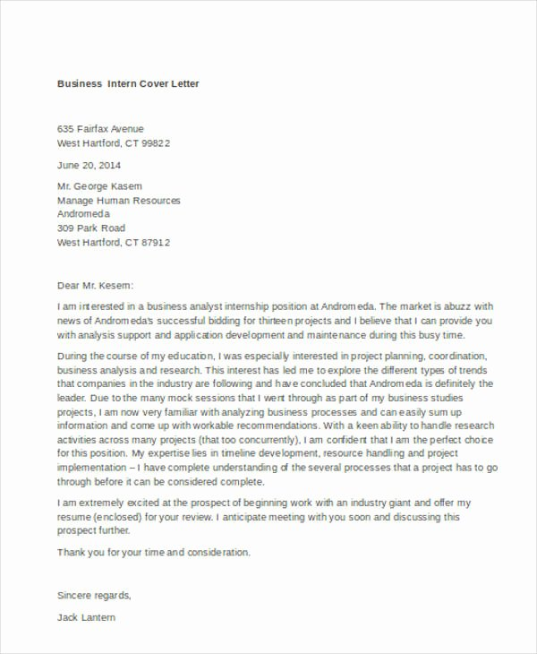 Cover Letter format for Internship New 9 Internship Cover Letter Free Sample Example format