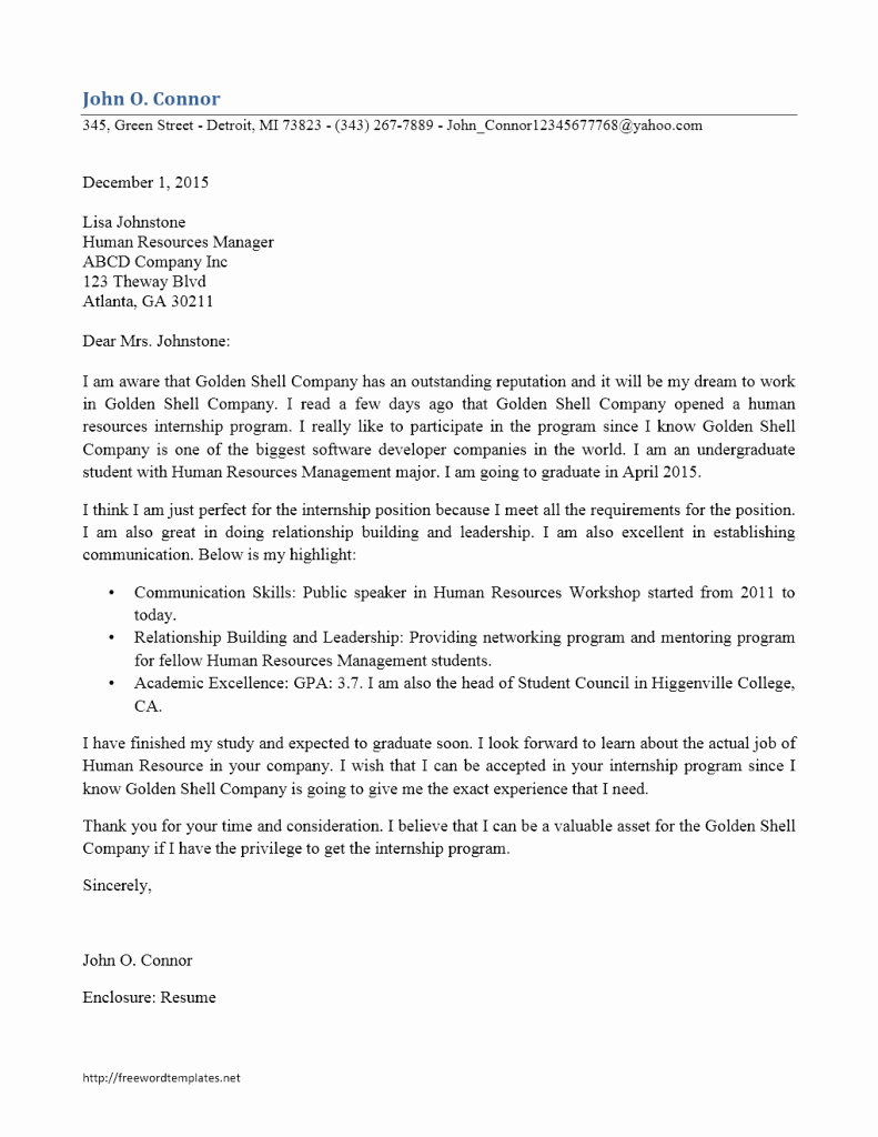 Cover Letter format for Internship Unique Internship Cover Letter