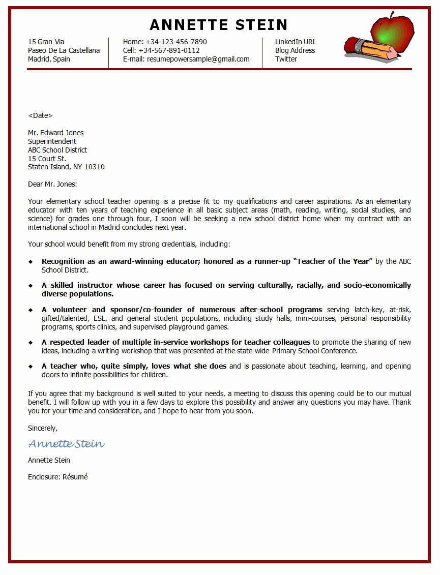 Cover Letter format for Teachers Elegant Example A New School Opening – Perfect Resume format
