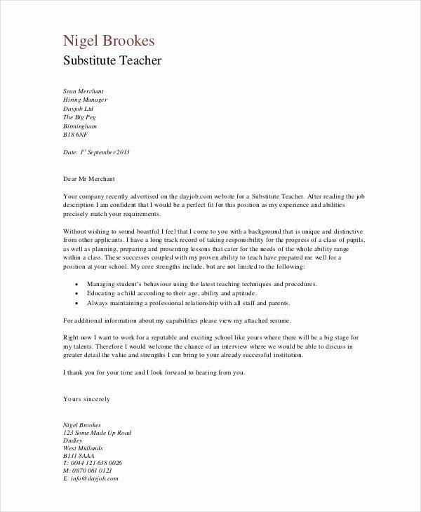 Cover Letter format for Teachers New Teacher Cover Letter Example 9 Free Word Pdf Documents