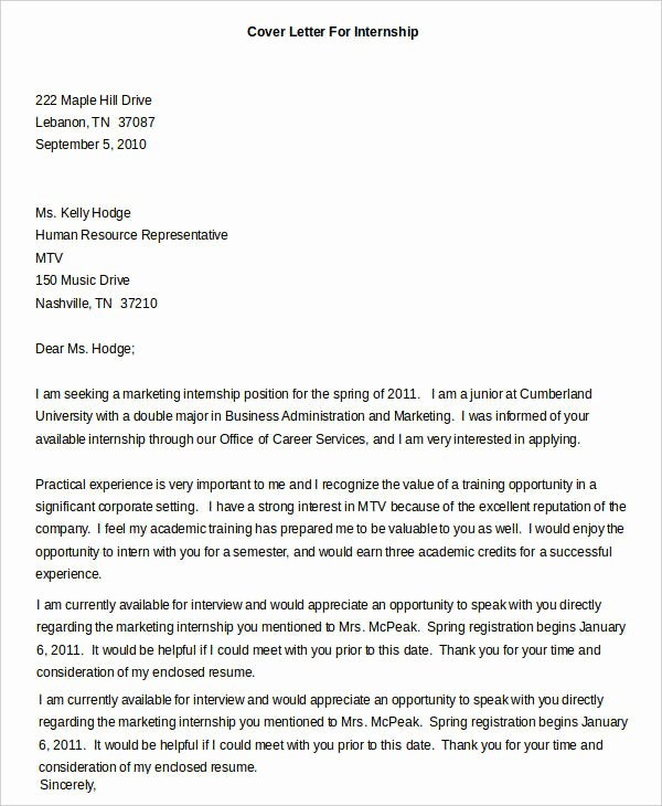 Cover Letter format Internship Lovely Cover Letters for Internship 7 Free Word Pdf Documents