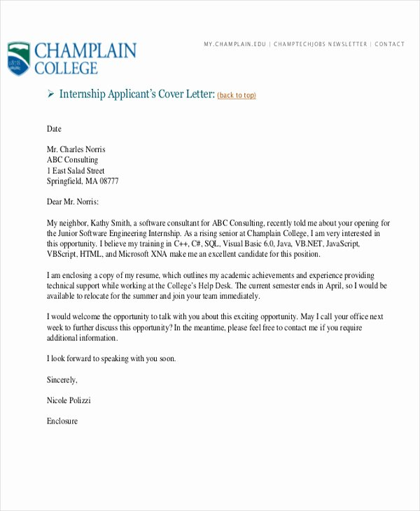 Cover Letter format Internship Luxury 5 Cover Letters for software Engineer