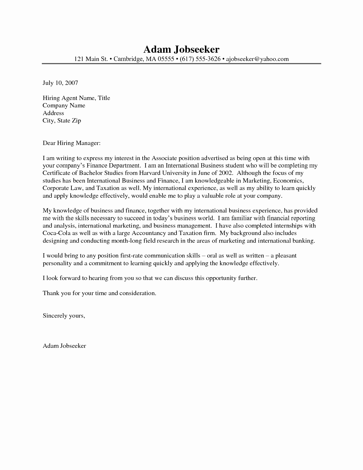 Cover Letter format Internship Luxury Cover Letter for Internship Resume Cover Letter Internship