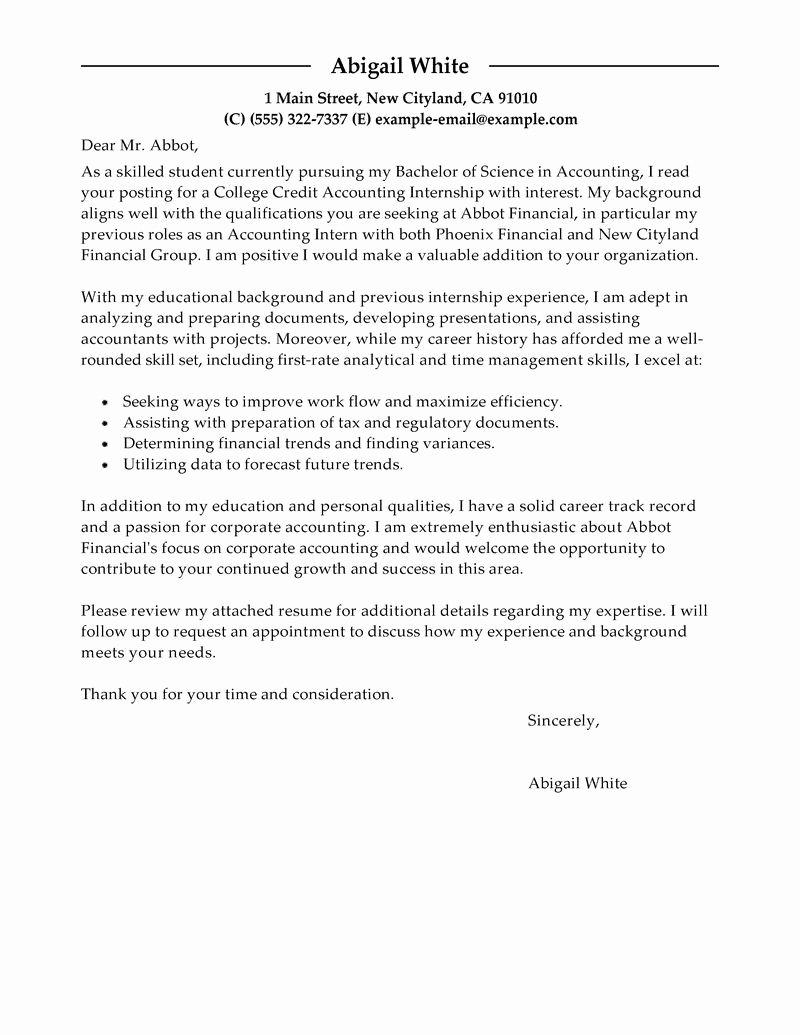 Cover Letter format Internship Unique Best Training Internship College Credits Cover Letter