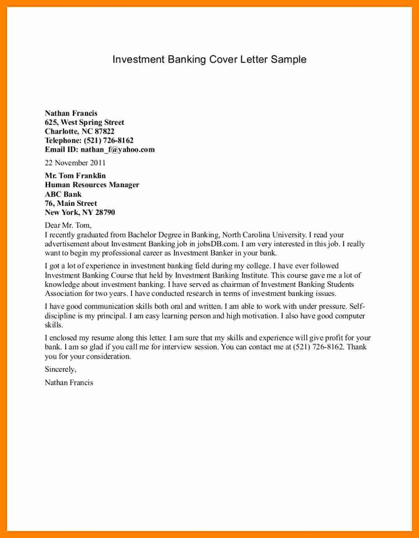 Cover Letter format Pdf Luxury Bank Job Application Letter Investment Banking Cover