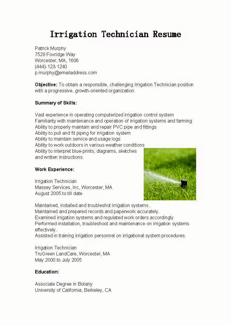 Cover Letter format Uf Unique Resume Samples Irrigation Technician Resume Sample