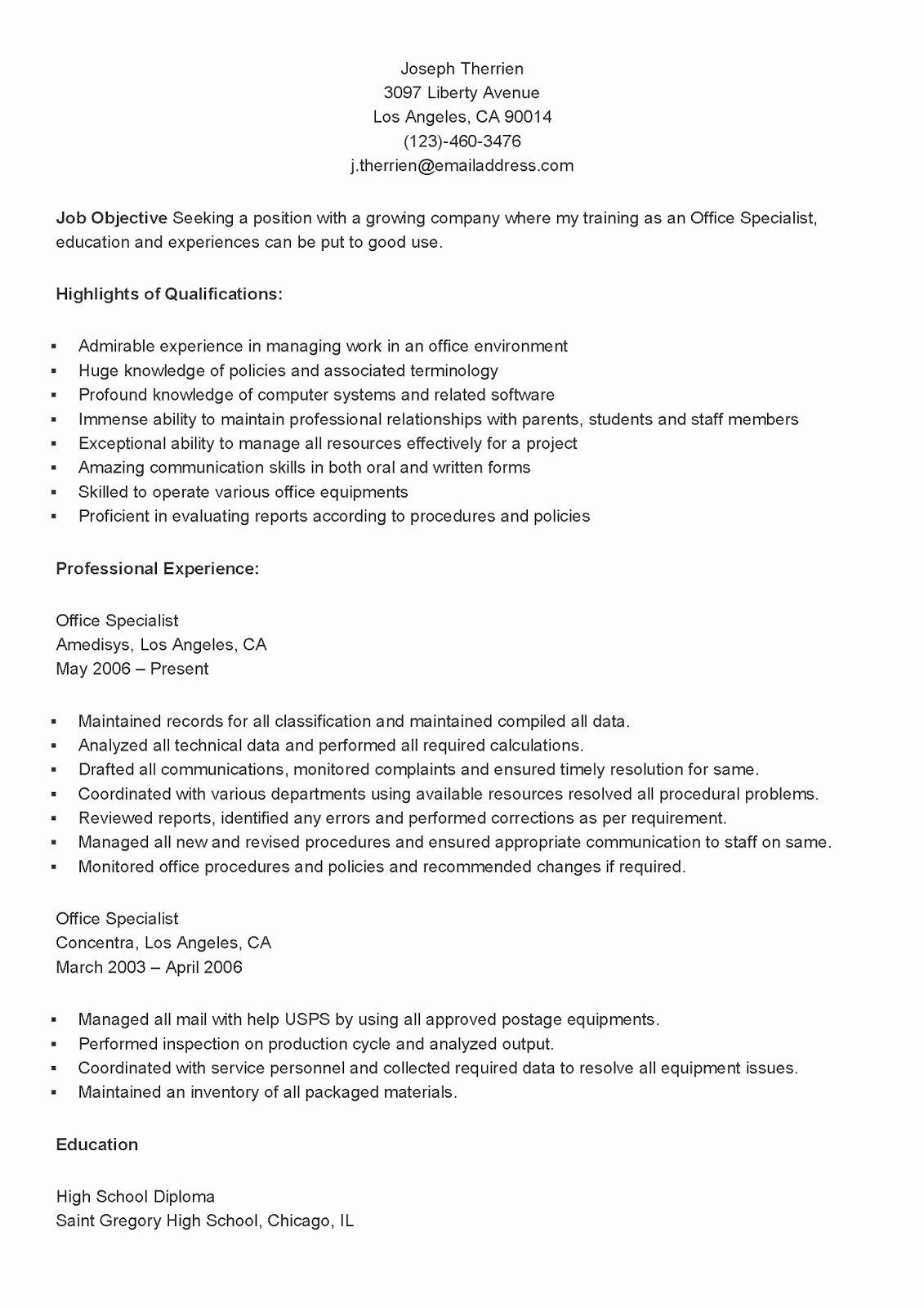 Cover Letter format Uf Unique Resume Samples Sample Fice Specialist Resume