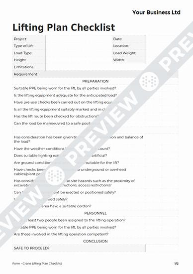 Crane Lift Plan Template Best Of Crane Lifting Plan Checklist form Template Haspod
