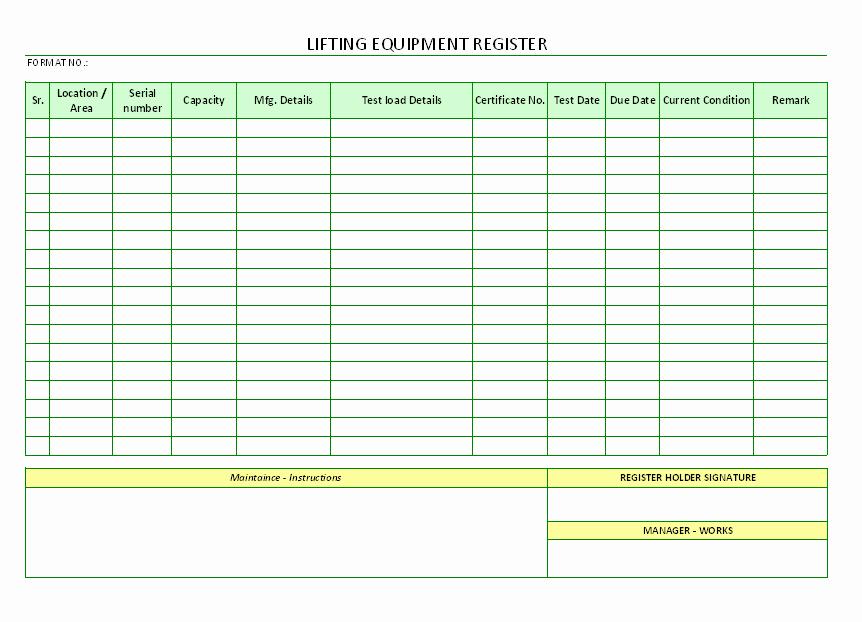 Crane Lift Plan Template Best Of Lifting Equipment Register