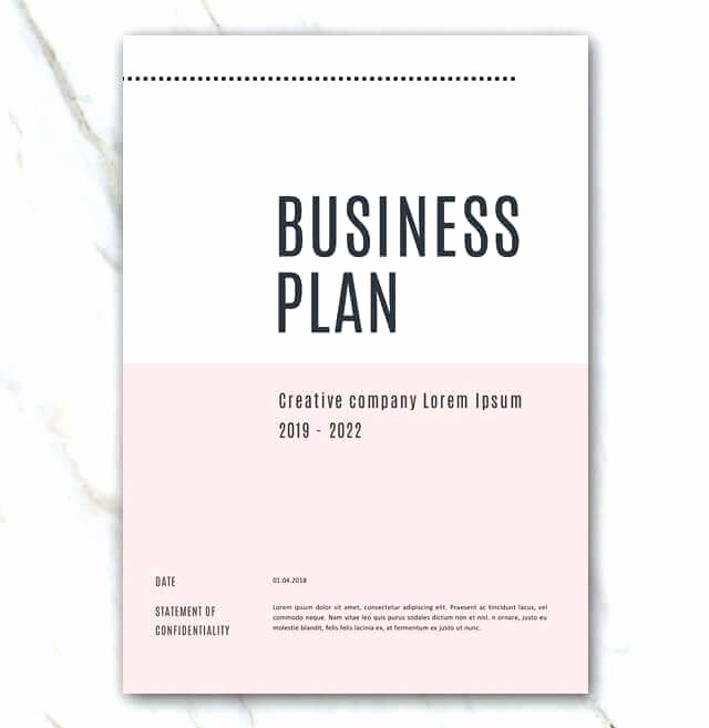 Creative Business Plan Template Inspirational Business Plan Templete Cover Page Pink Creative