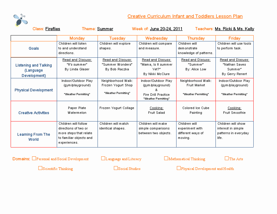 Creative Curriculum Lesson Plan Template New Emergent Curriculum Preschool Lesson Plan Template