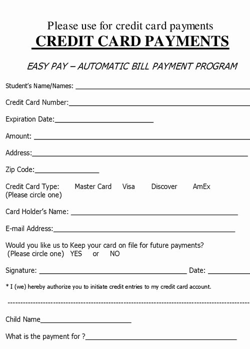 Credit Card Slip Template Beautiful Charge Authorization form