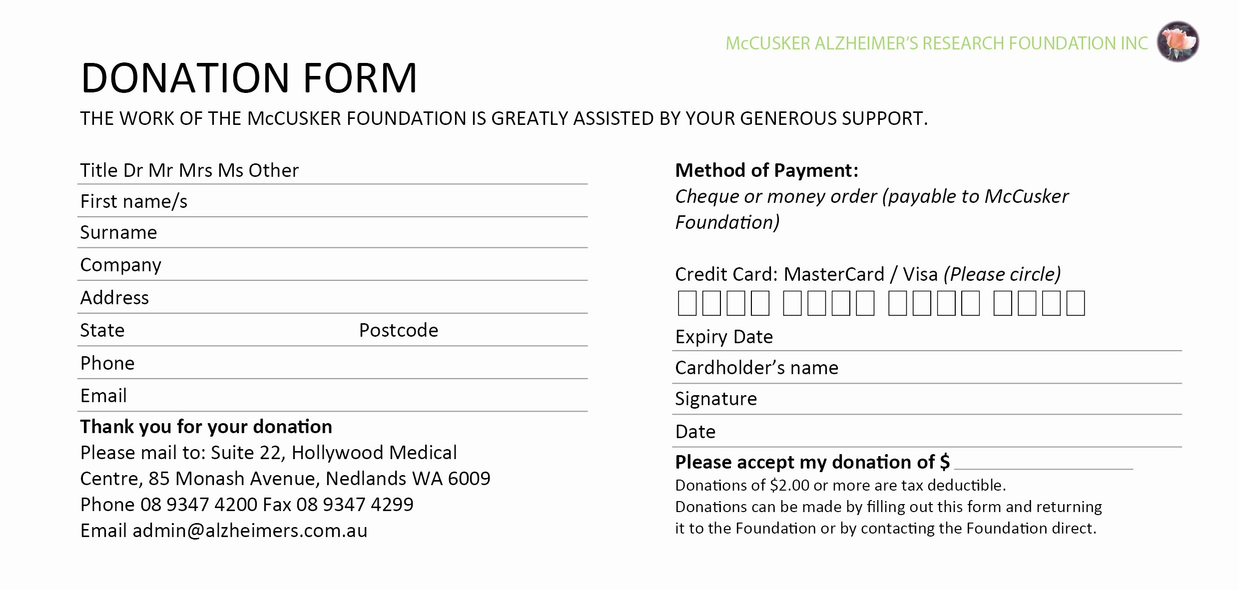 Credit Card Slip Template Best Of 6 Donation form Templates Excel Pdf formats