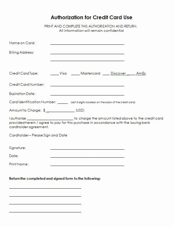 Credit Card Slip Template Elegant Authorization for Credit Card Use Free Authorization forms