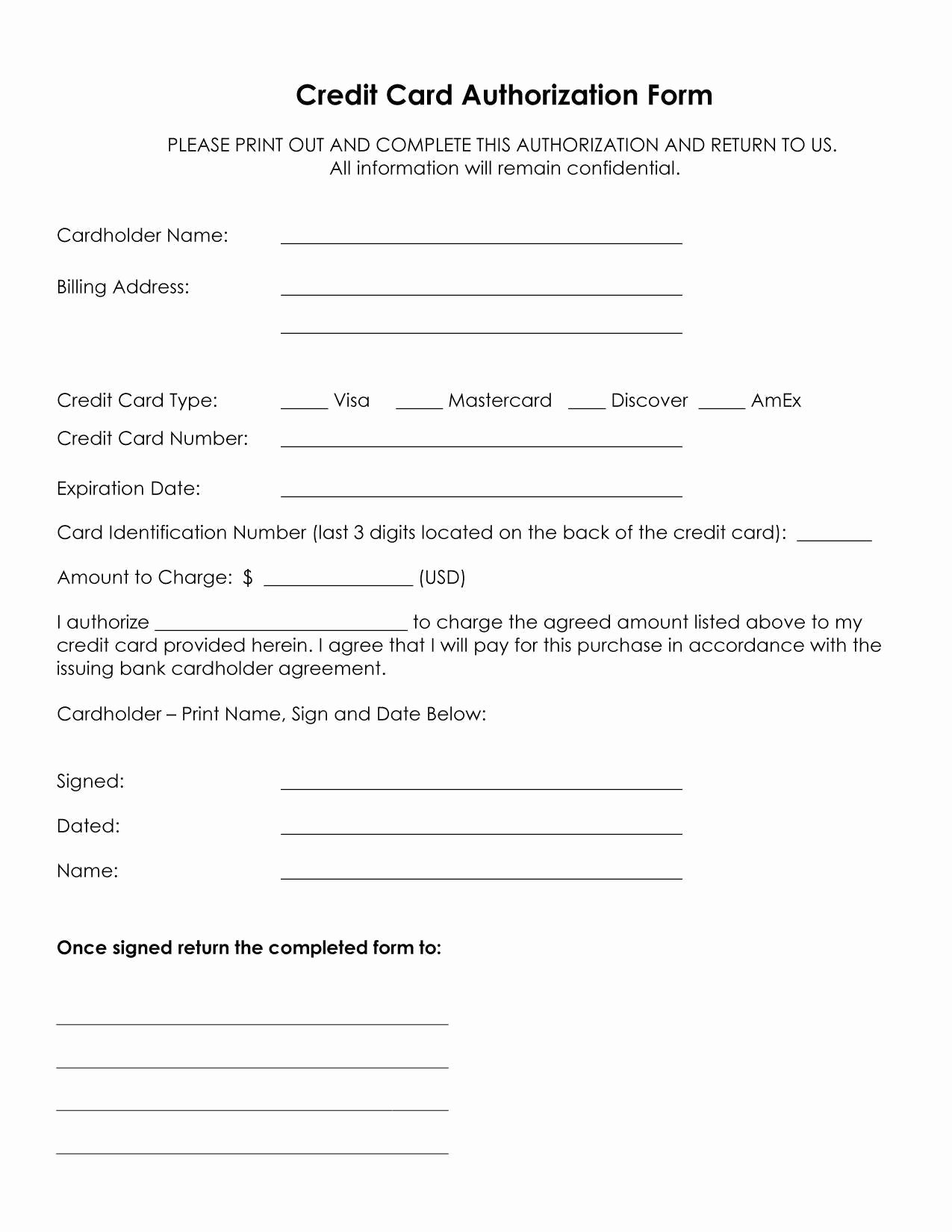 Credit Card Slip Template Lovely Authorization for Credit Card Use Free forms Download