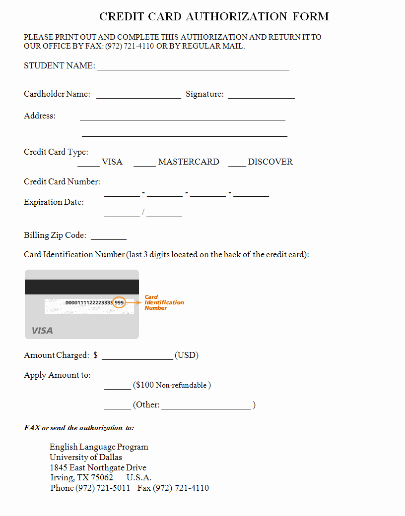 Credit Card Slip Template New Credit Card Authorization form Template Credit Cards for