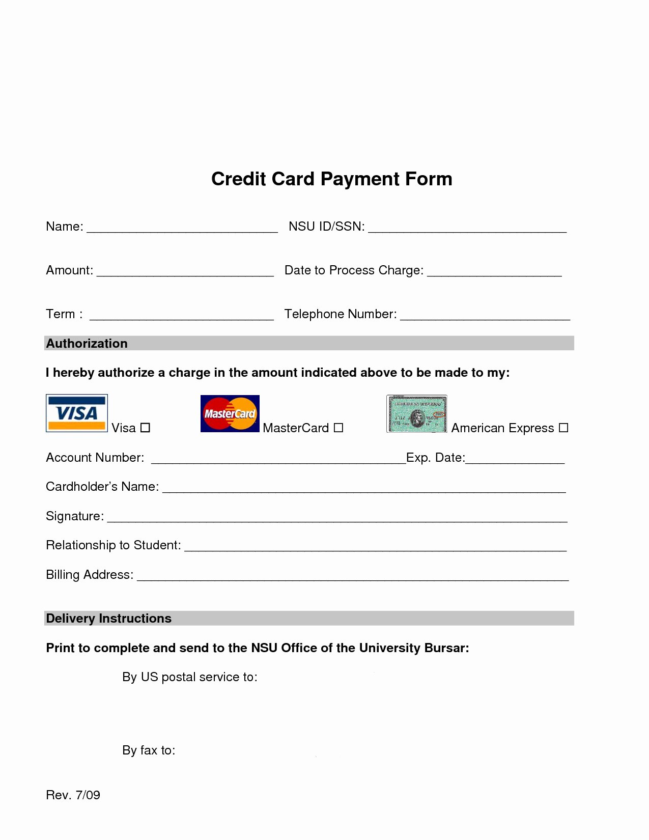 Credit Card Slip Template New Credit Card Payment form Template