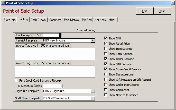 Credit Card Slip Template New Pos Setup Printing Tab