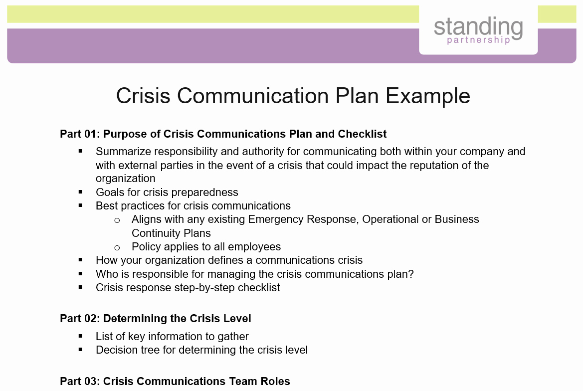 Crisis Communication Plan Template Awesome Crisis Munication Plan Example Standing Partnership