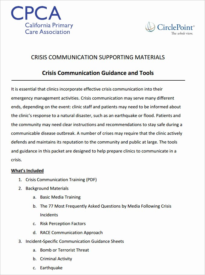 Crisis Communication Plan Template Best Of 3 Crisis Munication Plan Templates Doc Pdf