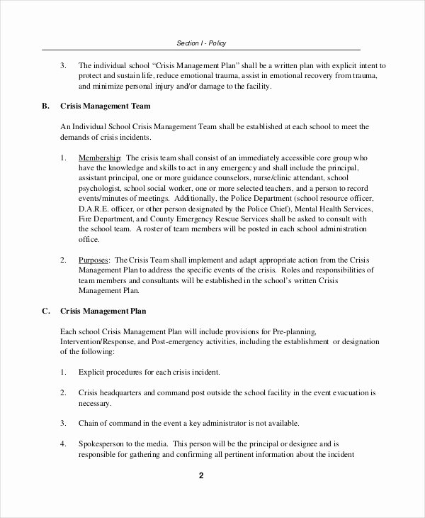 Crisis Communication Plan Template Fresh Crisis Plan Template 10 Word Pdf Google Docs Apple