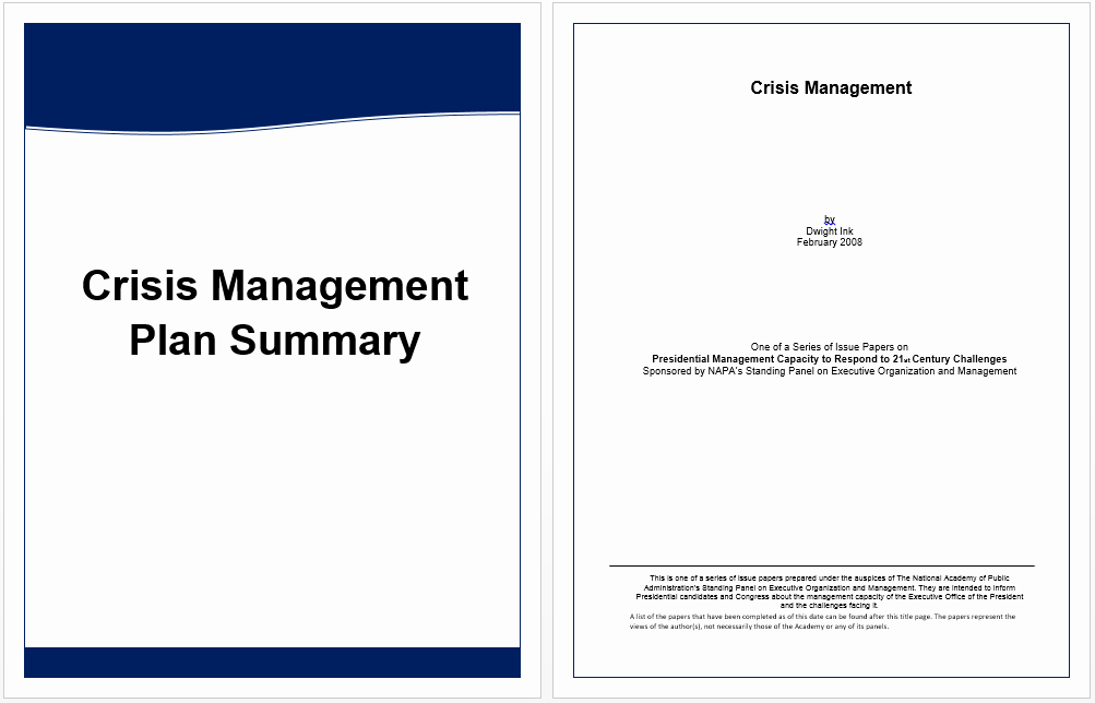 Crisis Management Plan Template Awesome Executive Summary Template for Crisis Management