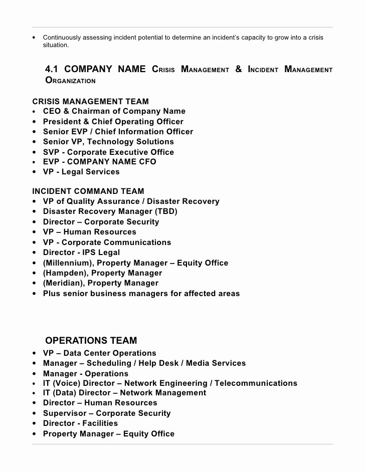 Crisis Management Plan Template Best Of 23 Of Crisis Management Plan Template Manufacturing