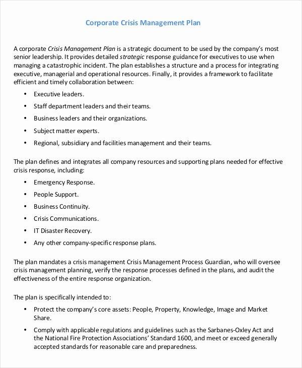 Crisis Management Plan Template Inspirational 11 Crisis Management Plan Templates Sample Word Google