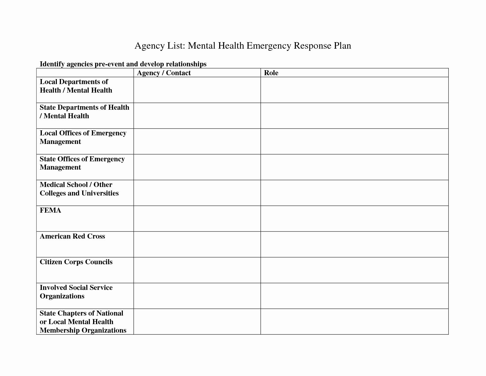 Crisis Management Plan Template Unique 10 Best Of Mental Health Crisis Plan Worksheet