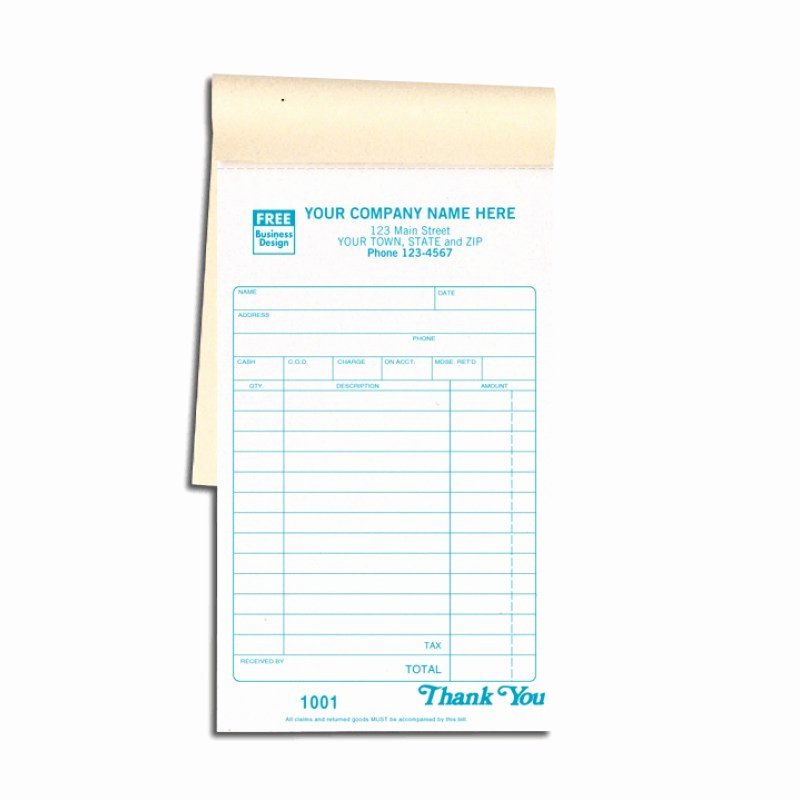 Custom Printed Receipt Books Lovely Carbon Copy Sales Receipt Books