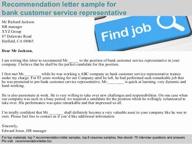 Customer Service Recommendation Letter Best Of Bank Customer Service Representative Re Mendation Letter