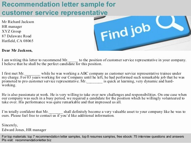 Customer Service Recommendation Letter Best Of Customer Service Representative Re Mendation Letter
