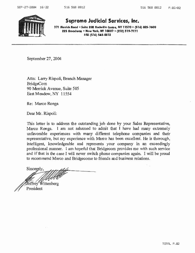 Customer Service Recommendation Letter New Supreme Judicial Customer Reference Letter