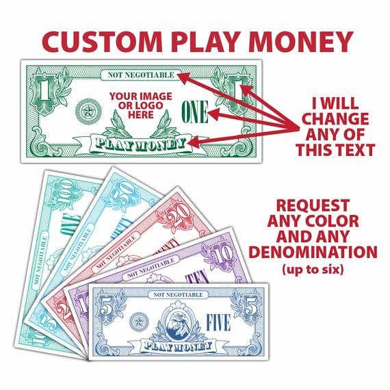 Customizable Fake Money Template Lovely Custom Play Money Money Fake Money Pretend Money Teachers