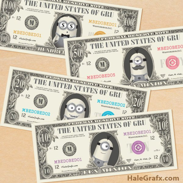 Customizable Fake Money Template Lovely Free Printable Minion Bill Play Money Pack