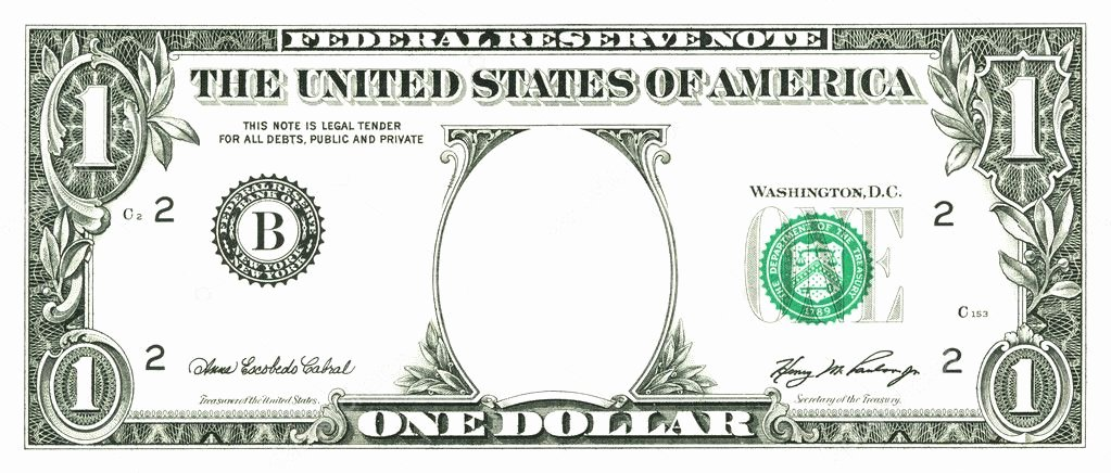 Customizable Fake Money Template Luxury E Dollar Bill with A Hole — Stock © Palinchak
