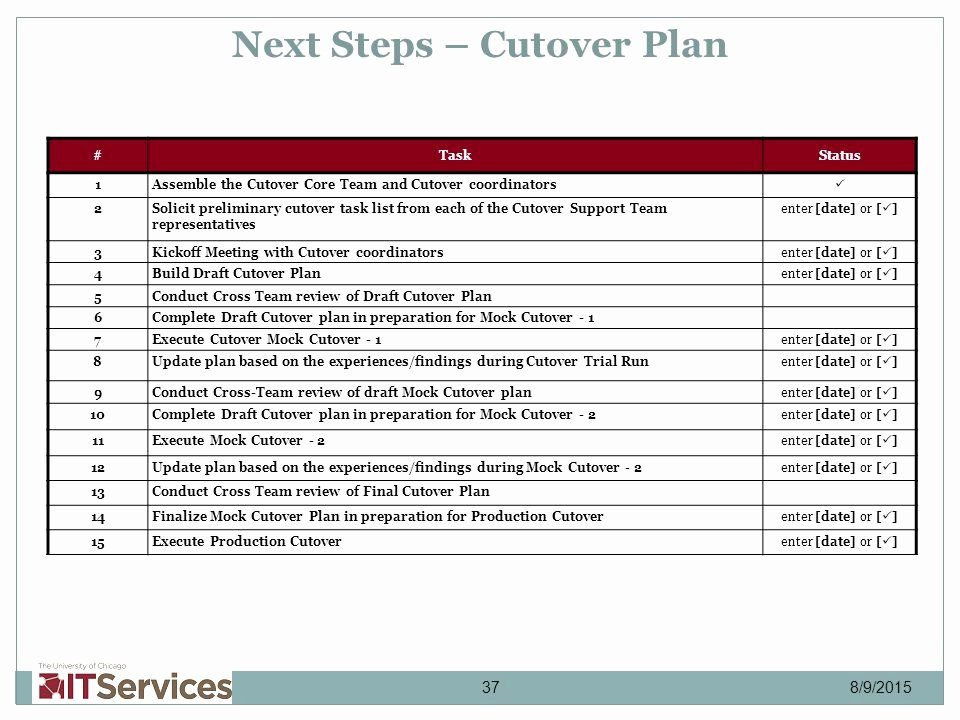 Cutover Plan Template Excel Inspirational Itpd Production Cutover Strategy February 12 Ppt