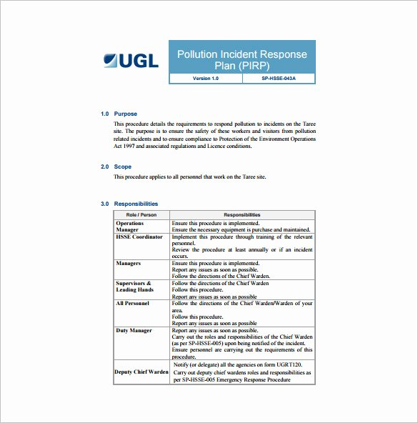 Cyber Incident Response Plan Template Awesome 19 Of Cyber Security Incident Response Template