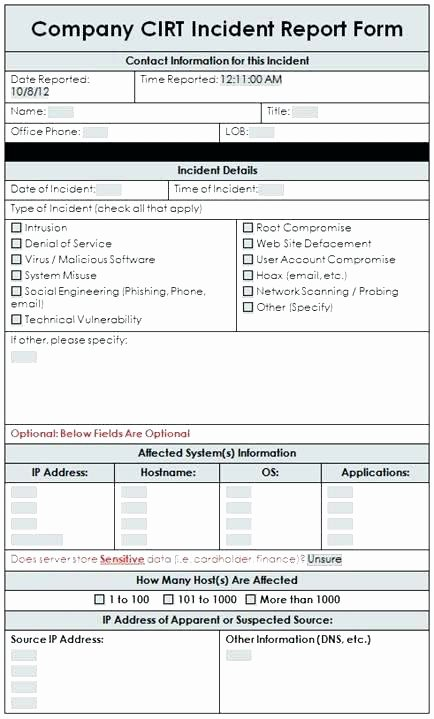 Cyber Incident Response Plan Template Inspirational Cyber Incident Response Template Blank Security Incident