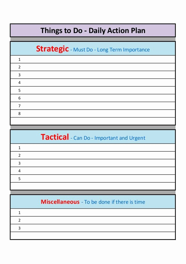 Daily Action Plan Template Lovely Daily and Weekly Action Plan Template
