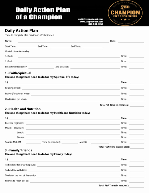 Daily Action Plan Template New Download Daily Action Planner Templates for Free