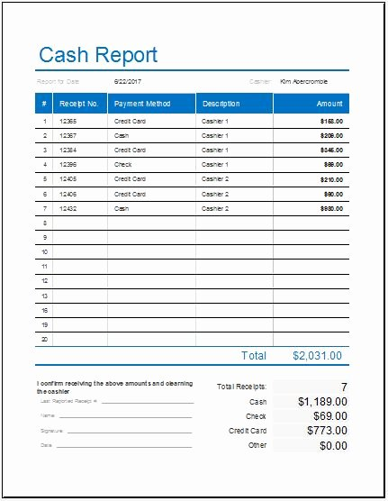 Daily Cash Sheet Template Excel Awesome Daily Cash Report Template for Ms Excel