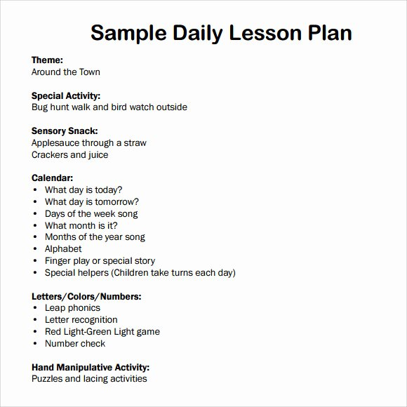 Daily Lesson Plan Template Beautiful 7 Sample Daily Lesson Plans