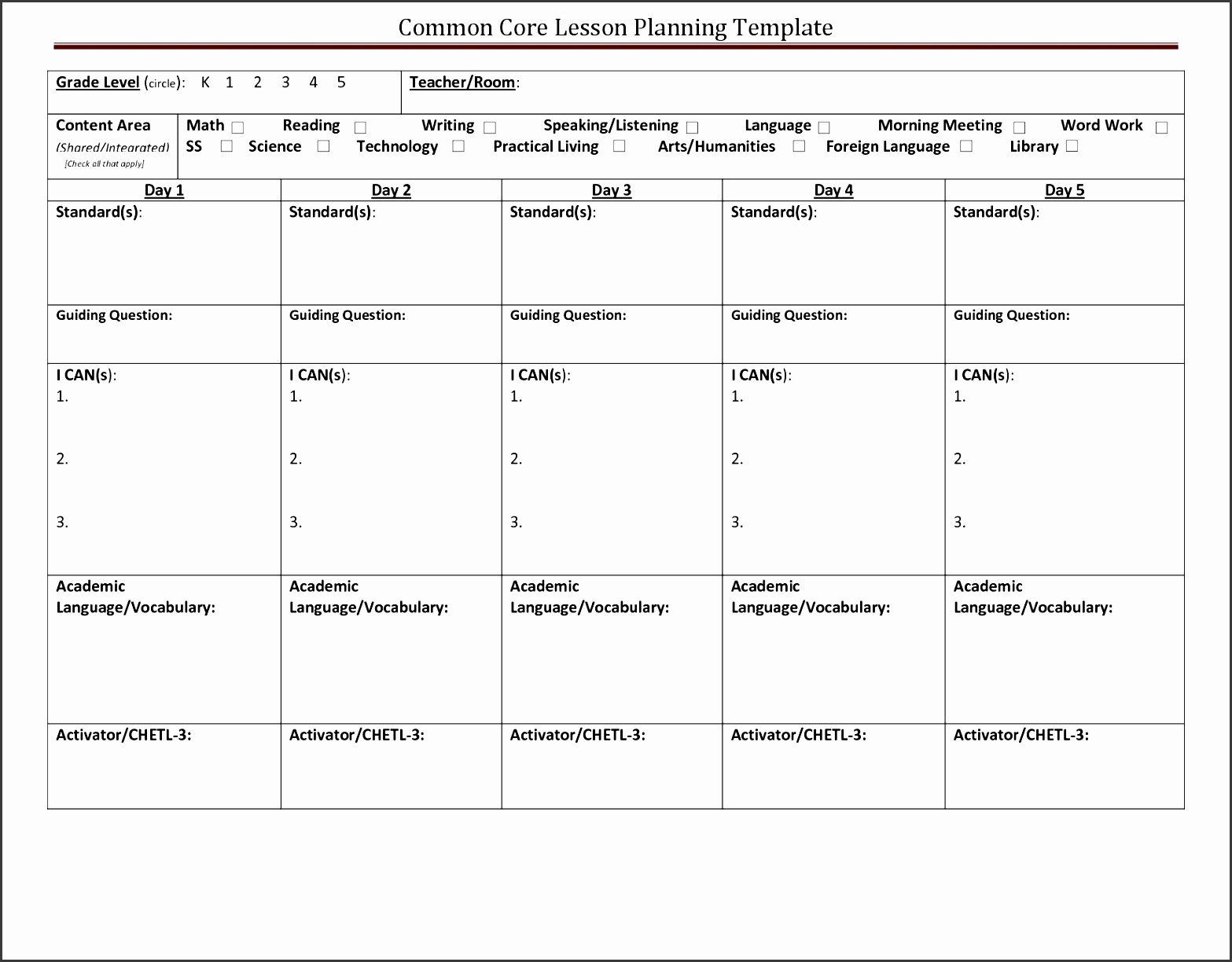mon core lesson plan template doc