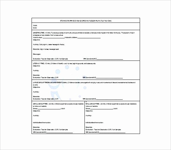 Daily Lesson Plan Template Doc Lovely Daily Lesson Plan Template Free Sample Example format Doc