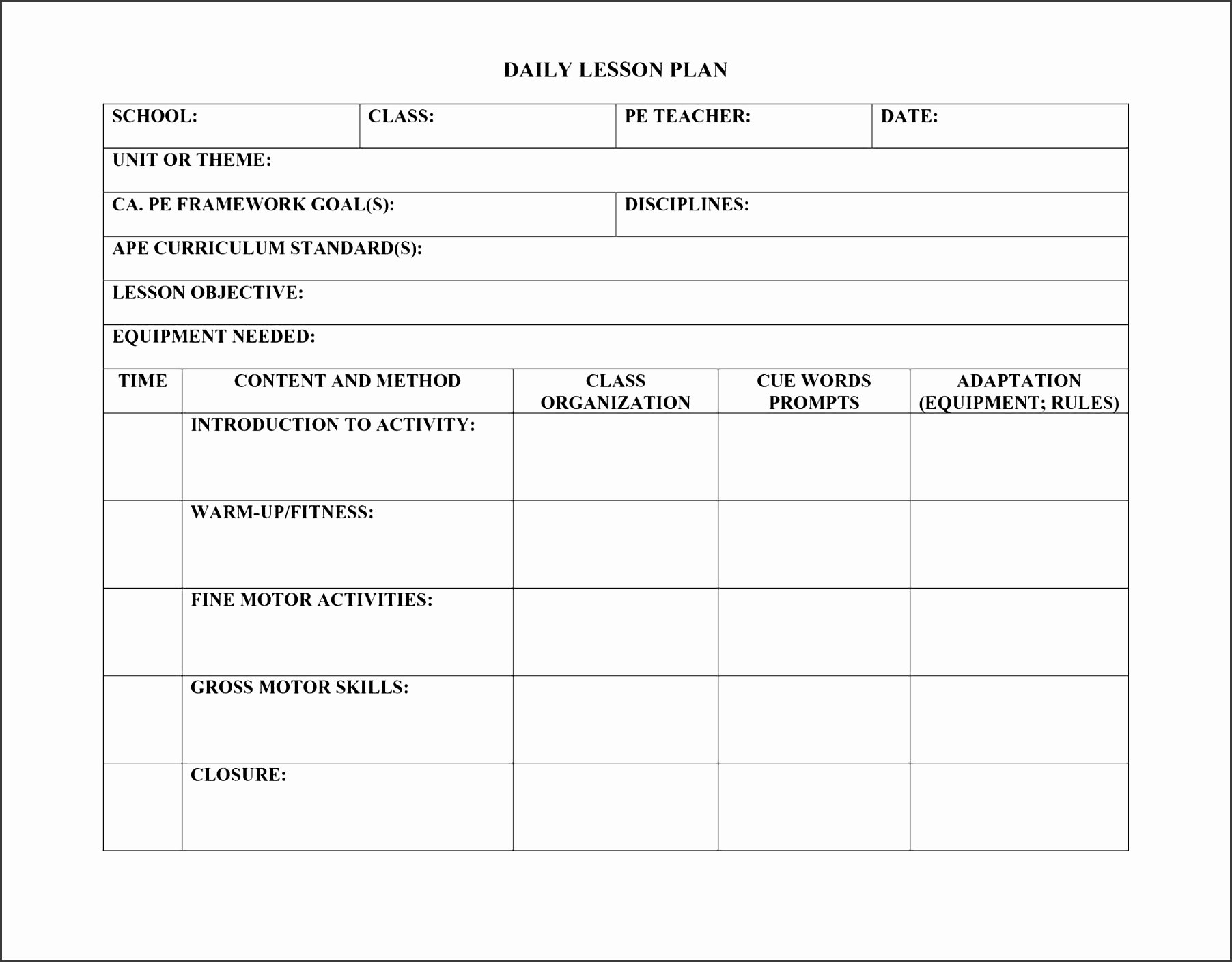 Daily Lesson Plan Template Elegant 5 Daily Lesson Planner for Free Sampletemplatess